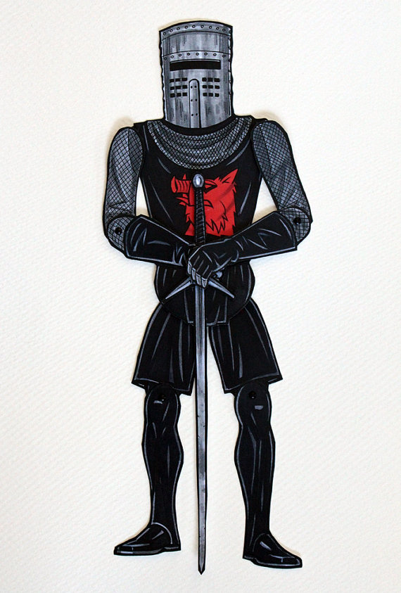 Black Knight Articulated Paper Doll inspired by Monty Python.