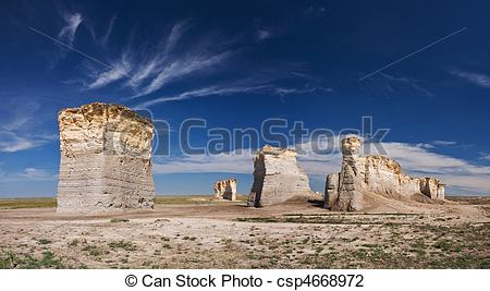 Stock Photo of Monument Rocks KS.