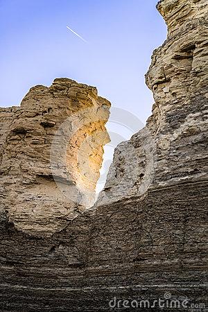 Monument Rock Chalk Pyramids Stock Photo.