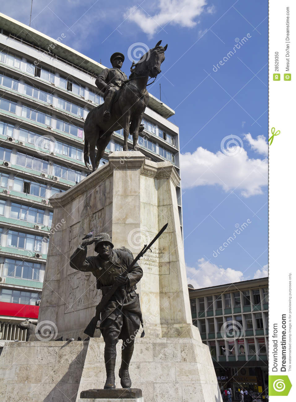 Statue Of Ataturk On Horse Stock Photo.