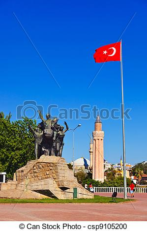 Stock Photography of Mustafa Kemal Ataturk statue in Antalya.