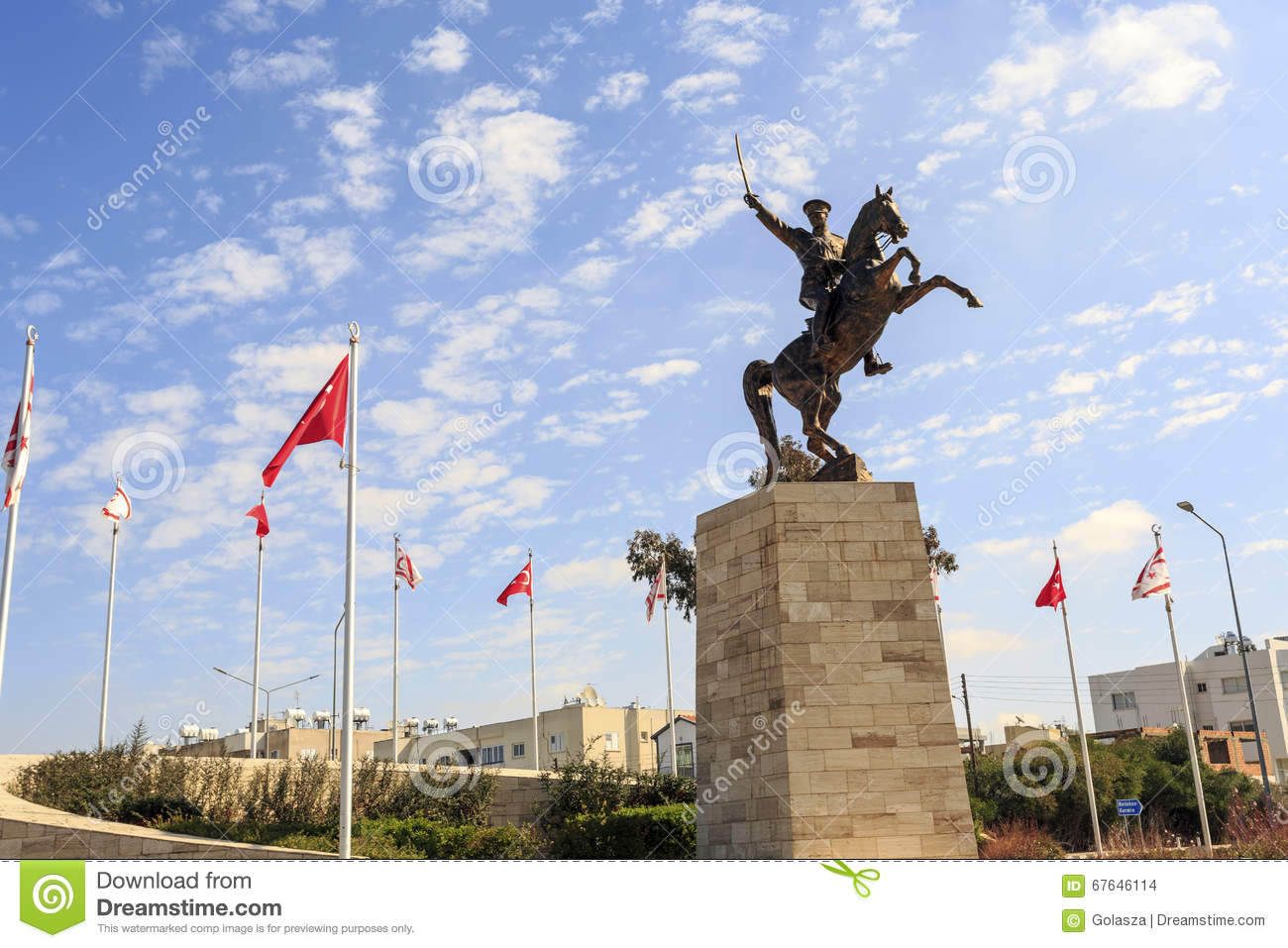 Ataturk Statue In Turkish City Close To Nicosia, Cyprus Stock.