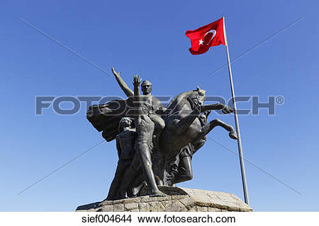 Stock Photo of Turkey, Antalya, Monument of Kemal Ataturk.