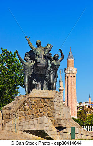 Stock Photo of Mustafa Kemal Ataturk statue in Antalya Turkey.