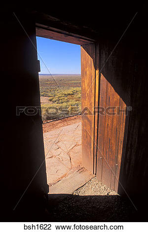 Stock Photo of Looking out the door of the west cabin across.