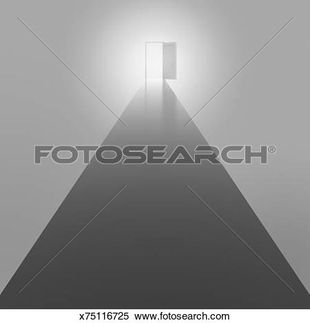 Stock Illustration of Straight road and an open door x75116725.