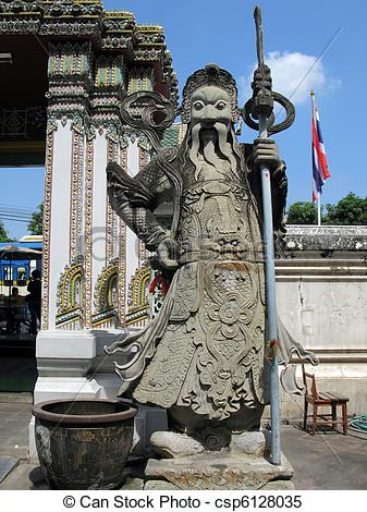 Stock Images of Stone guard at the door of Wat Po temple in.