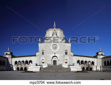 Stock Photo of The Famedio entry building at Monumental Cemetery.