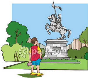 Clipart Picture of a Little Boy Gazing Up At a Monumental Statue.