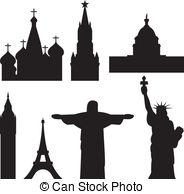 International historical landmark monuments Vector Clip Art EPS.