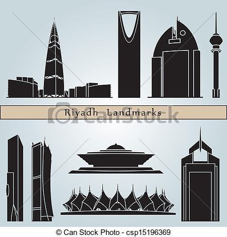 Clip Art Vector of Riyadh landmarks and monuments isolated on blue.