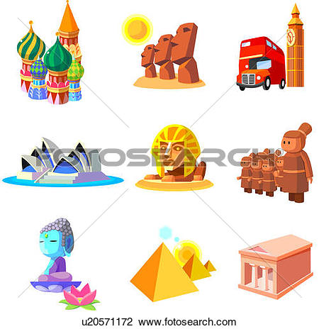 Drawings of Famous places and monuments of the world u13452794.