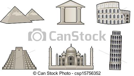 Clipart Vector of World famous landmark and monuments vector.