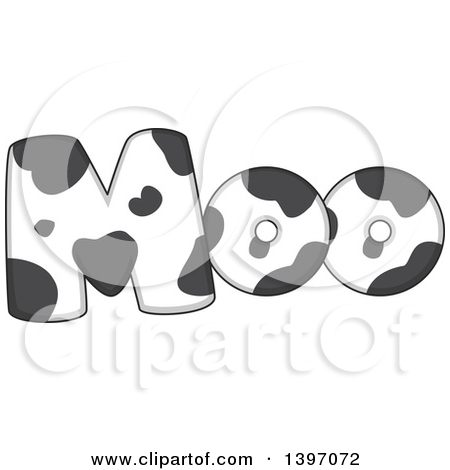 Clipart of a Farm Animal Sound of Moo in a Cow Pattern.