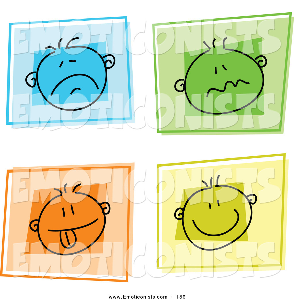 Clip Art of a Digital Set of 4 Colorful Moody Face Buttons by.