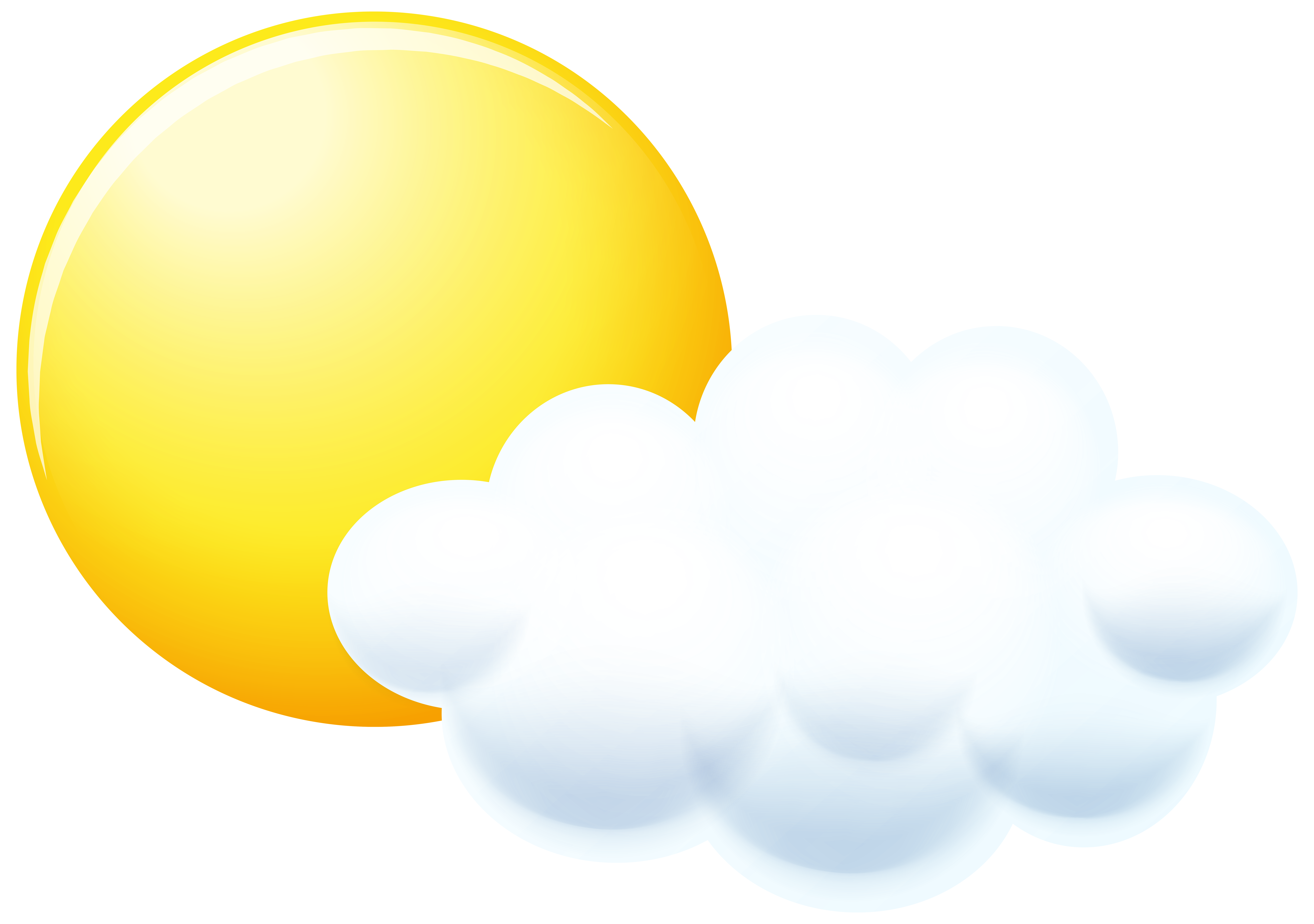 Sun and Cloud Clip Art PNG Image.