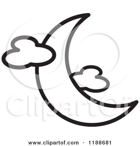Full Moon With Clouds Clipart.