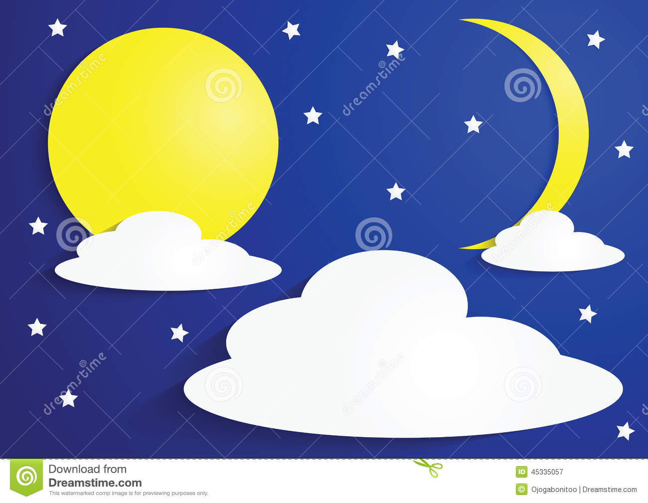 Paper Full Moon And Crescent Moon With Clouds And Stars Stock.