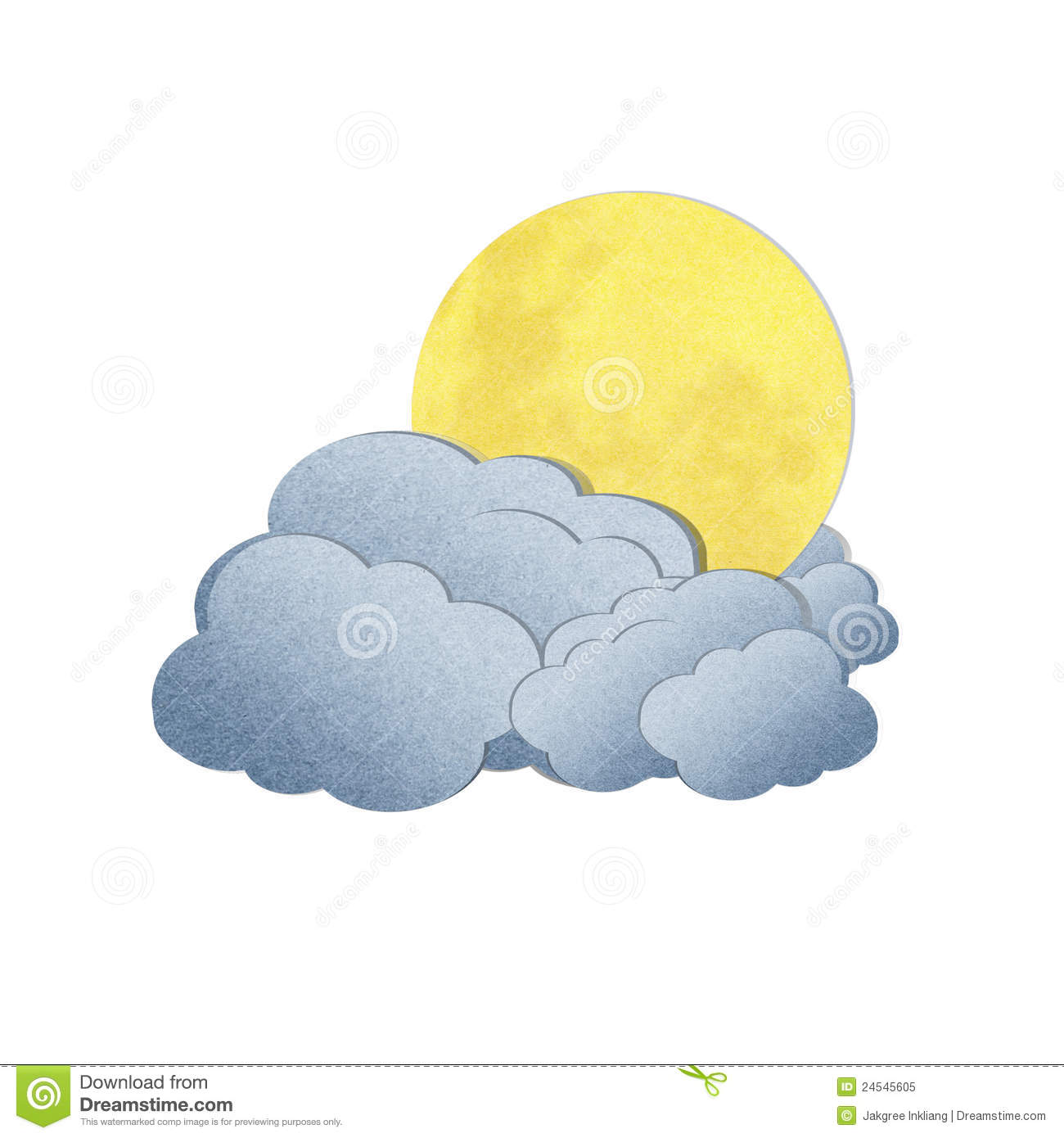 Moon and Clouds Clip Art.