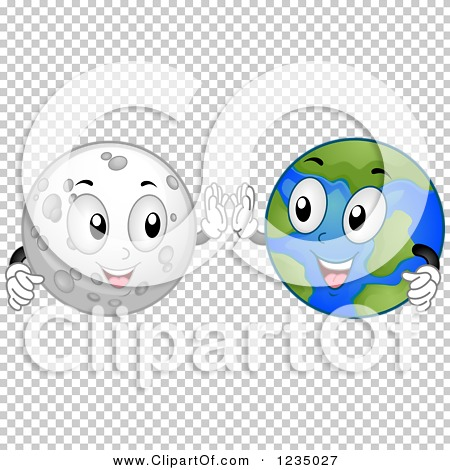 Clipart of Moon and Earth Characters Doing a High Five.