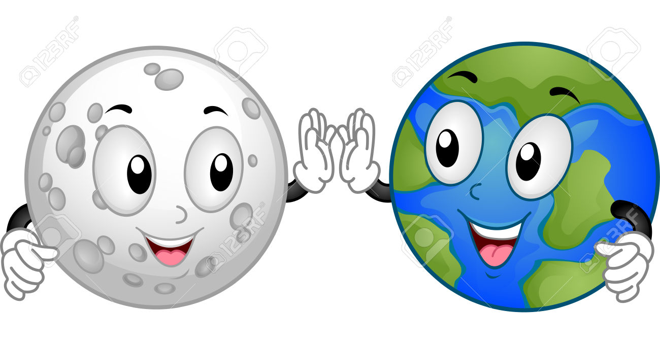 Mascot Illustration Featuring The Moon And The Earth Doing A.