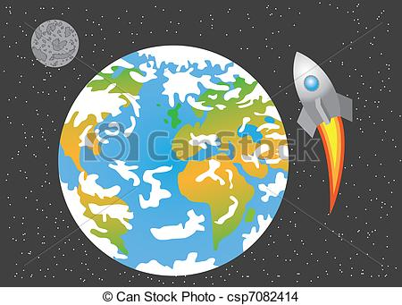 Vector Illustration of Earth Horizon from Space with Moon.