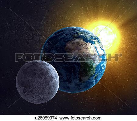 Drawings of Earth, Moon and Sun, artwork u26059974.
