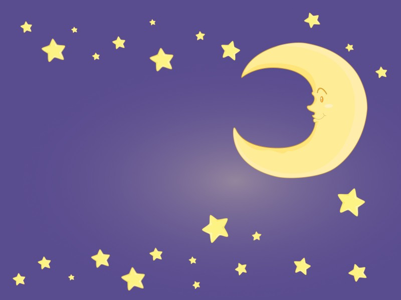 Moon and Stars On Purple Clipart Powerpoint Templates.