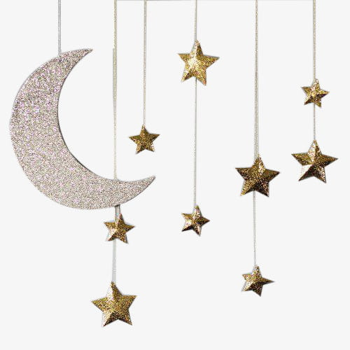 Moon star charm PNG clipart.
