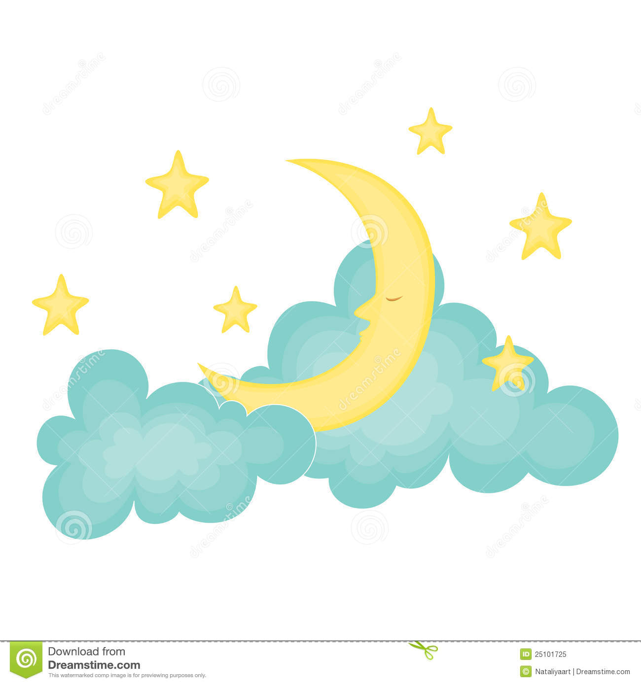 Moon With Stars Clipart.