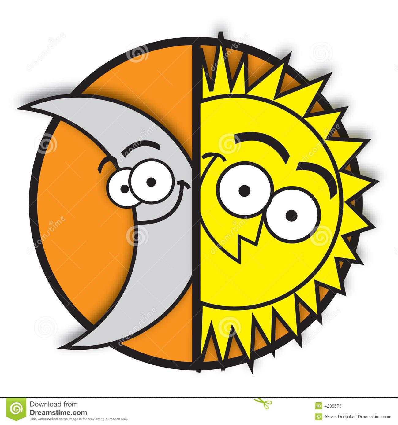 Moon & sun stock vector. Illustration of orange, cartoon.