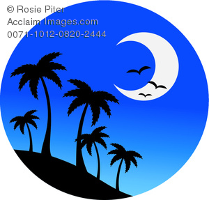 Clip Art Image of Palm Trees On a Hill With Birds and a Half Moon.