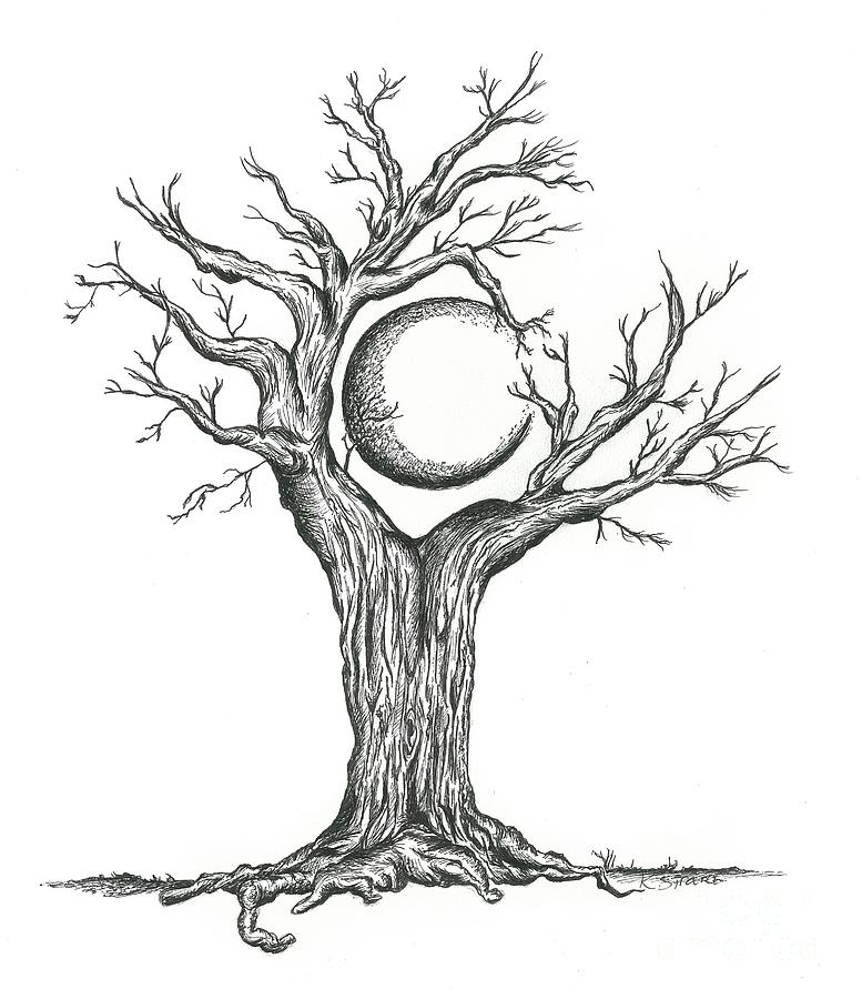 Moon By Trees Clipart