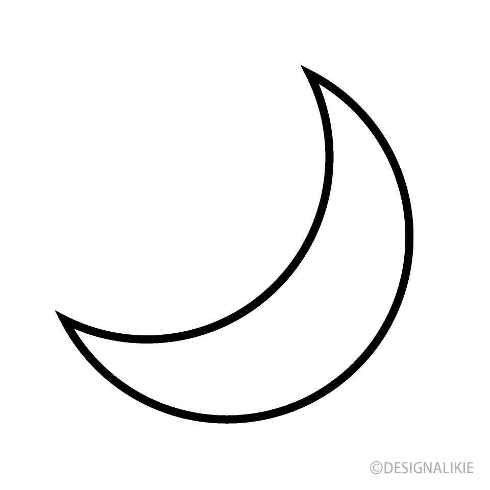 Free Black and White Moon Symbol Image|Illustoon.