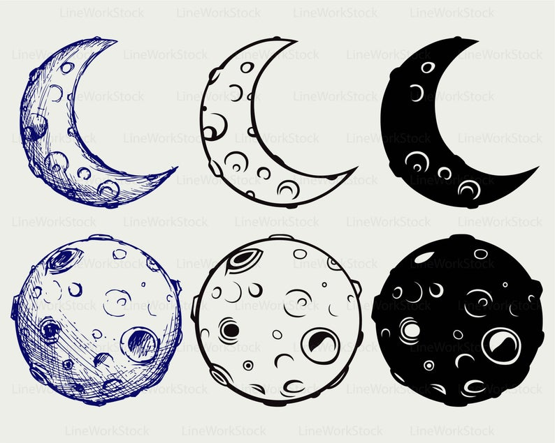 Moon crescent svg,moon clipart,crescent svg,silhouette,crescent cricut cut  files,craters clip art,digital download svg,eps,png,dxf,jpg.