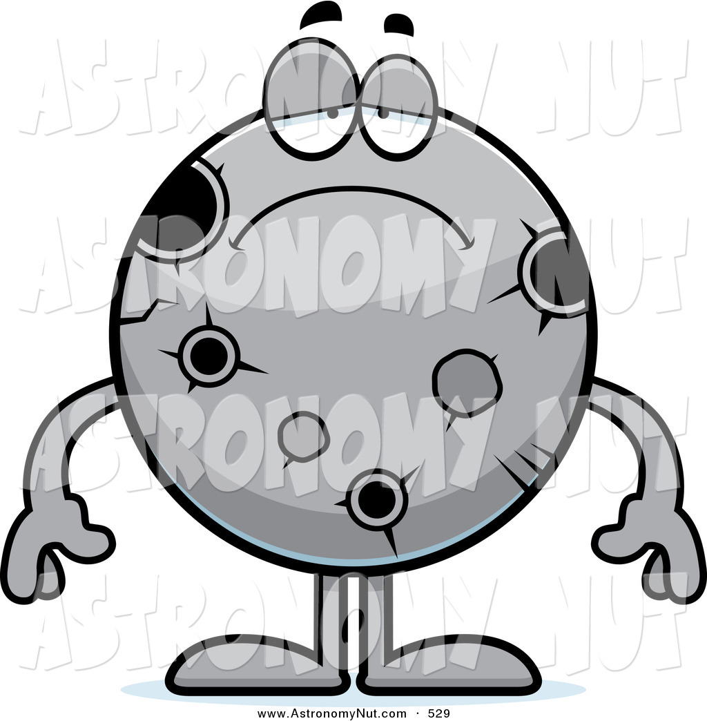 Clipart of a Depressed Moon with Craters and Holes by Cory Thoman.