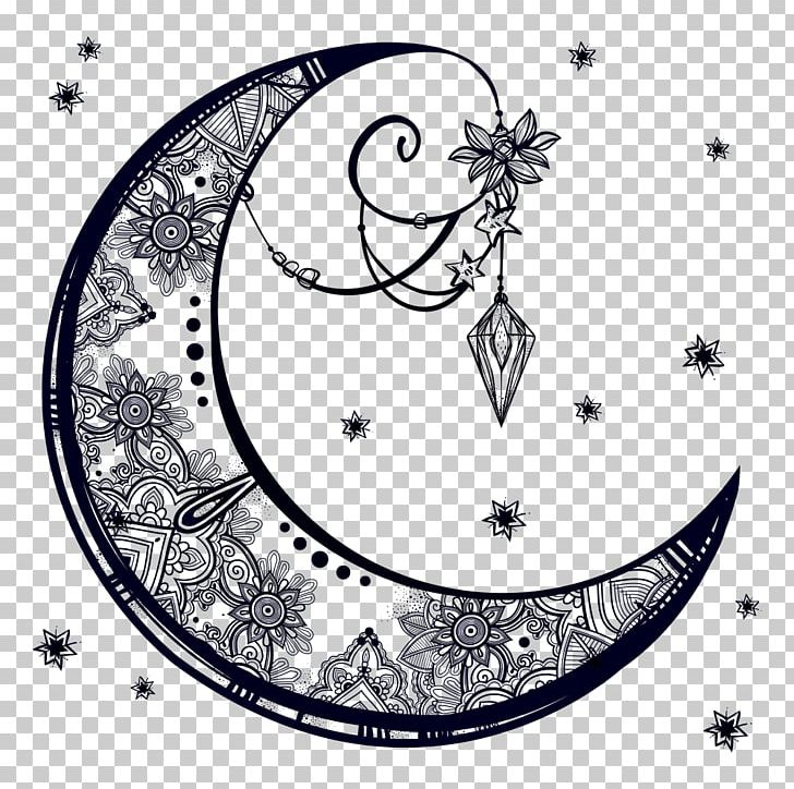 Drawing Crescent Moon PNG, Clipart, Area, Art, Black And.