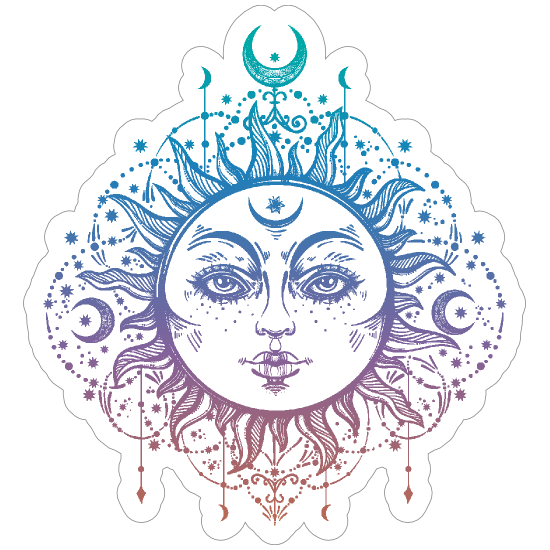 Boho Moon Goddess Sticker.