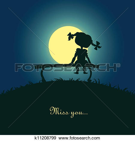 Clip Art of Girl sitting lonely in the moonlight k11208799.