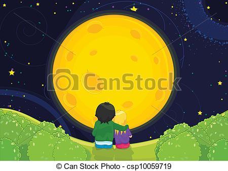 Clipart of Kids sitting under moonlight vector.