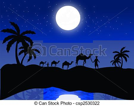 Clip Art of silhouette view of camels and human in moonlight.