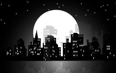 High Rise Moonlight City, vector graphics.