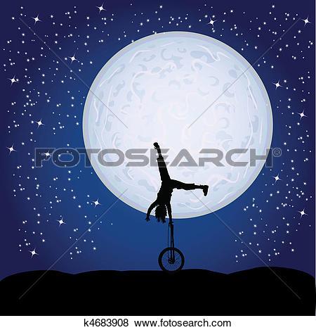 Clip Art of gymnastics in the moonlight k4787296.