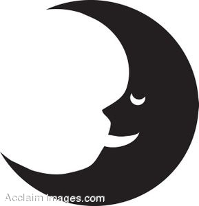 Clip Art Silhouette of the Man in the Moon.