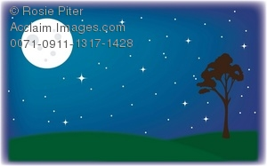 Clipart Illustration Of A Full Moon In The Night Sky.