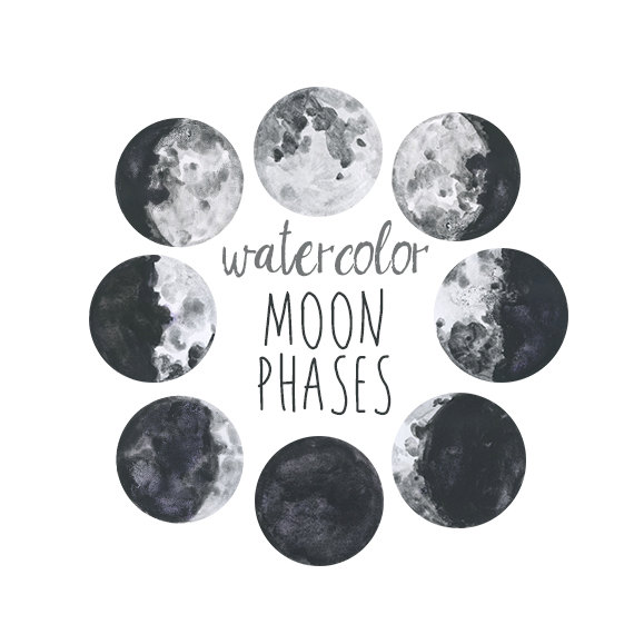 Watercolor Moon Phases, Lunar Chart Clip Art, Digital Download.