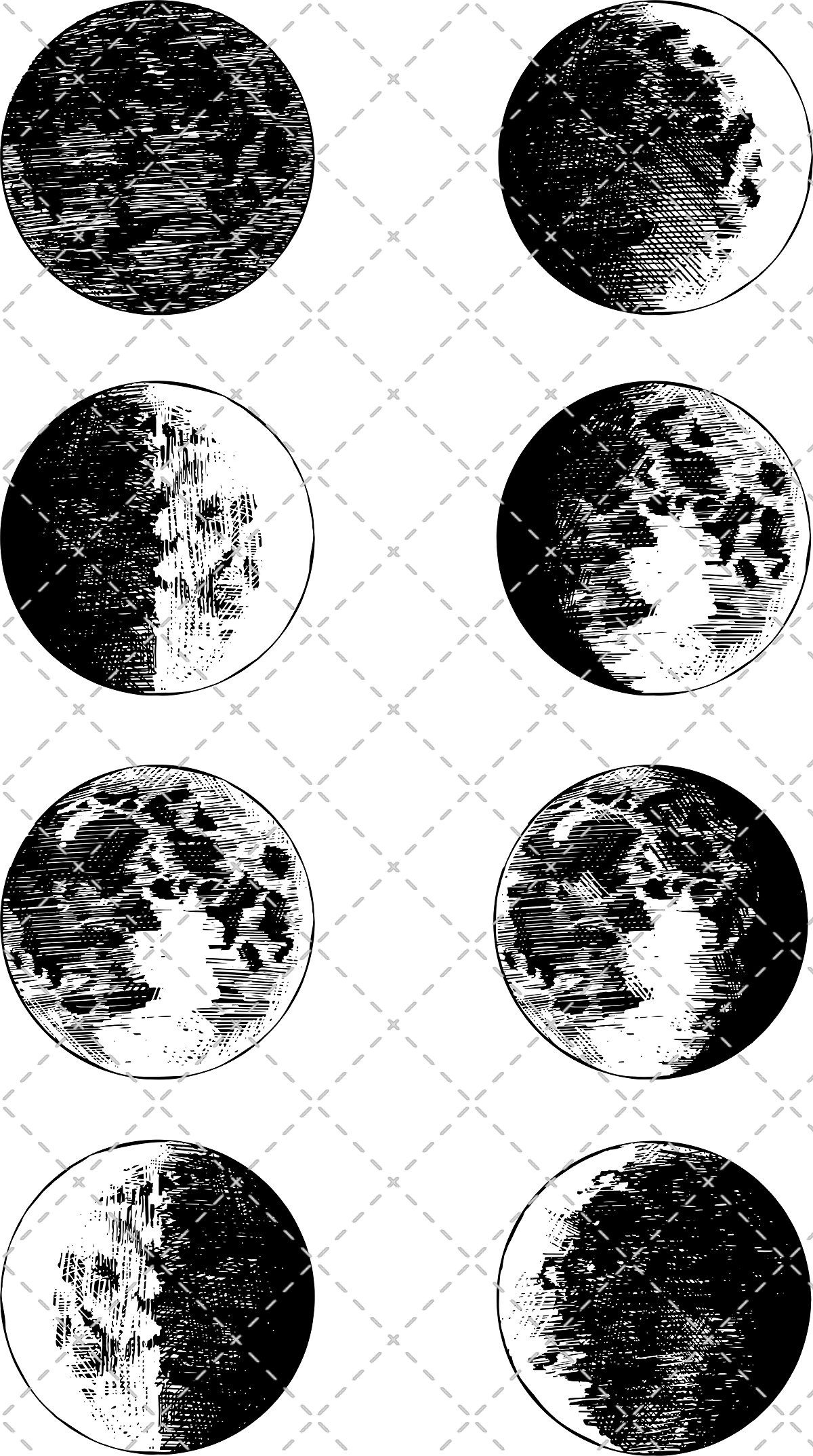 Moon Phases Clipart by MiksKS on @creativemarket #texture.