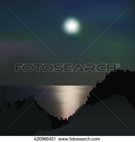 Clipart of Moon path on the sea at night k20966451.