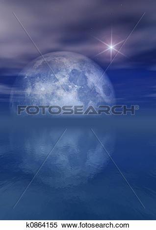 Stock Illustration of Full Moon Bright Star Over Sea k0864155.