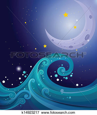 Clip Art of An image of the sea waves with a moon k14923217.